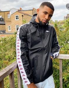 Черная куртка на молнии с фирменной лентой Kappa-Черный