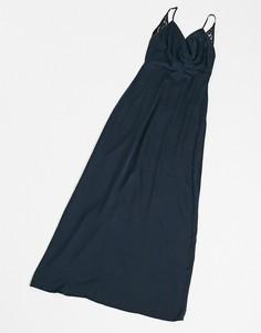 Темно-синее платье макси со свободным воротом Vila-Темно-синий