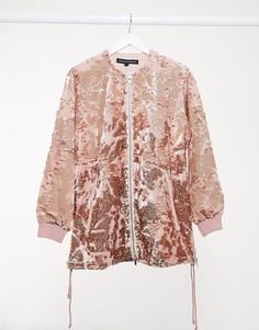 Розовая куртка с отделкой пайетками French Connection-Розовый