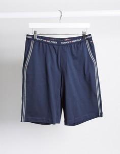 Темно-синие шорты для дома с фирменным поясом Tommy Hilfiger-Темно-синий
