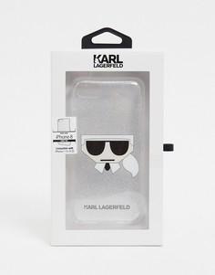 Серый чехол для iphone 8 с логотипом Karl Lagerfeld