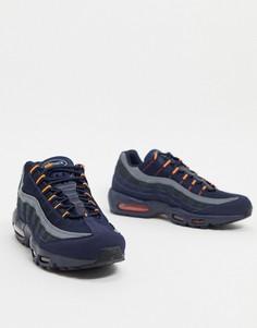Сине-оранжевые кожаные кроссовки с логотипом Nike Air Max 95-Темно-синий