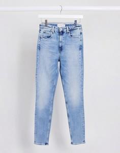 Голубые джинсы скинни с завышенной талией Calvin Klein-Синий