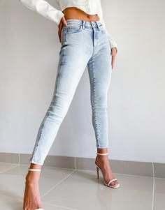 Выбеленные джинсы скинни с завышенной талией Calvin Klein-Синий