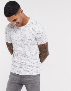 Белая футболка с круглым вырезом и принтом Selected Homme-Белый