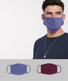 2 маски для лица (синяя и бордовая) ASOS DESIGN-Мульти