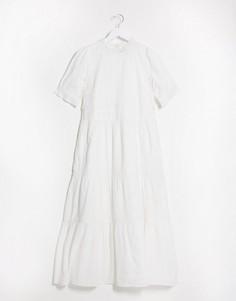 Хлопковое свободное платье макси белого цвета с кружевными вставками и короткими рукавами ASOS DESIGN-Белый