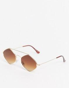 Солнцезащитные очки в золотистой оправе Jeepers Peepers-Золотой