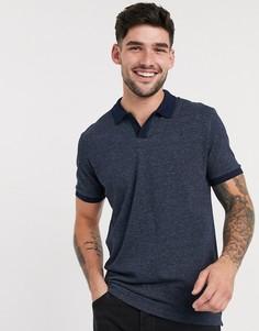 Темно-синяя футболка-поло с отложным воротником Selected Homme-Темно-синий