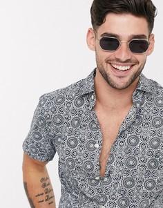 Рубашка с принтом и короткими рукавами Selected Homme-Синий