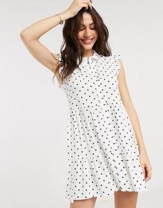 Белое платье-рубашка без рукавов в горошек Stradivarius-Мульти