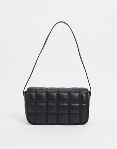 Черная стеганая сумка на плечо ASOS DESIGN-Черный