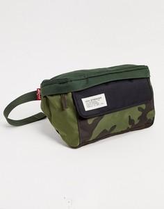 Сумка-кошелек на пояс с камуфляжным принтом Levis-Зеленый