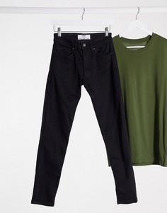 Черные джинсы узкого кроя Bershka-Черный