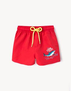 Красные пляжные шорты с принтом для мальчика Gloria Jeans