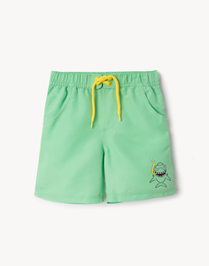 Бирюзовые пляжные шорты с принтом для мальчика Gloria Jeans