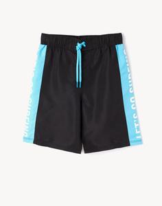 Чёрные пляжные шорты с надписями для мальчика Gloria Jeans