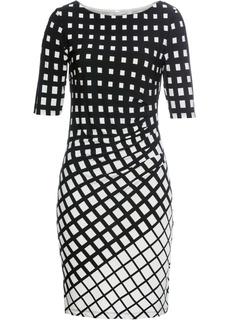 Платья с коротким рукавом Мини-платье с графичным узором Bonprix