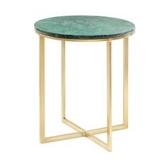 Столик кофейный Glasar с зеленым мрамором 41х41х47см ГЛАСАР
