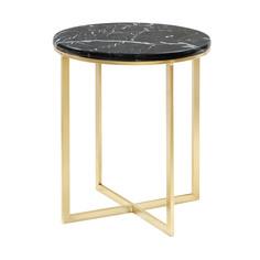 Столик кофейный Glasar с чёрным мрамором 41х41х47см ГЛАСАР