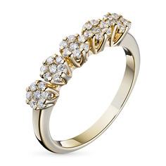 Кольцо из желтого золота с бриллиантами э03к101738 ЭПЛ Якутские Бриллианты
