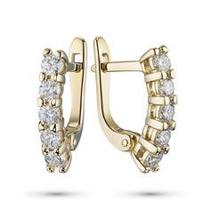 Серьги из желтого золота с бриллиантами э03с111820 ЭПЛ Якутские Бриллианты