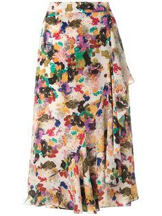 Andrea Marques юбка миди с оборками и принтом