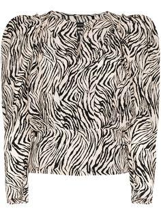 Isabel Marant рубашка с пышными рукавами и зебровым принтом