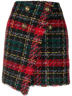 Balmain твидовая юбка асимметричного кроя