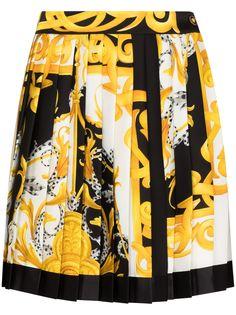 Versace расклешенная юбка с принтом Baroque