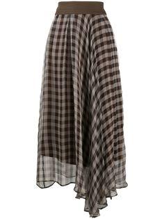 Brunello Cucinelli юбка асимметричного кроя в клетку гингем