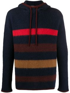 LANVIN striped knitted hoodie