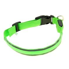 Ошейник с подсветкой и 2 светоотражающими полосами, 50-58 см, 3 режима свечения, зеленый Пижон