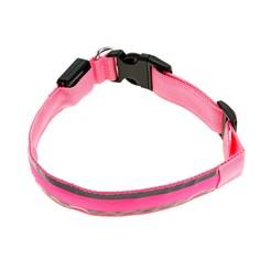 Ошейник с подсветкой и 2 светоотражающими полосами, 50-58 см, 3 режима свечения, розовый Пижон