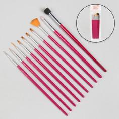 Кисти для наращивания и дизайна ногтей, 10 шт, 18,5 см, цвет розовый Queen Fair