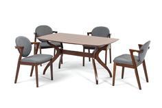 Комплект обеденный (стол pinang + 4 кресла muar) (ecodesign) серый 150.0x75.0x90.0 см.