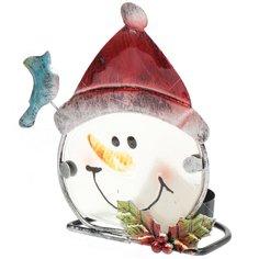 Подсвечник Снеговик и Деда Мороз Сноубум 2/396-479, 14х10 см