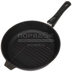 Сковорода-гриль чугунная Камская посуда гу8063 без крышки со съемной ручкой, 28 см
