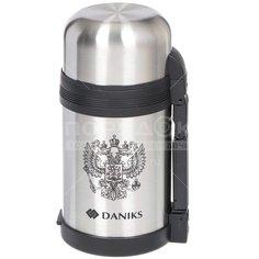Термос из нержавеющей стали Daniks SL-100GX серебристый с узким горлом, 1 л
