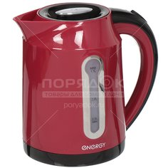 Чайник электрический пластиковый Energy E-210, 1.7 л, 2.2 кВт, красный