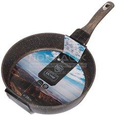 Сковорода с мраморным покрытием Daniks Гранит Олимп коричневая DFP-28-BR-IND без крышки, 28 см, глубокая