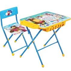 Набор детской мебели Nika Азбука Маша и медведь Первоклашка КУ2П/2 голубой (стол, стул, пенал)