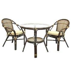 Мебель садовая Ellena-1 натуральный ротанг Б (стол, 2 кресла), темно-коричневая