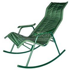 Кресло-качалка Нарочь С238 зеленое стальное, до 110 кг, 110х56.8х94 см
