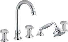 Смеситель на борт ванны с выдвижным душем и переключателем хром, ручки swarovski Cezares Olimp OLIMP-BVD-01-Sw