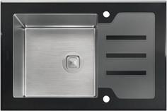 Кухонная мойка Tolero Ceramic Glass нержавеющая сталь/черный TG-660