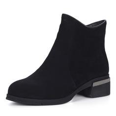 Ботинки Черные велюровые ботинки на каблуке Respect