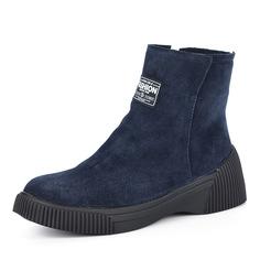 Ботинки Синие велюровые ботинки на плоской подошве Respect