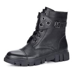 Ботинки Черные высокие ботинки из кожи с ремешком Respect