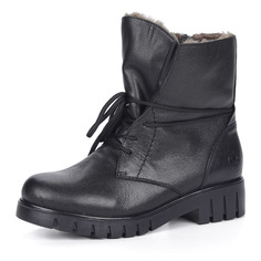 Ботинки Черные ботинки из кожи на шнуровке на меху Rieker